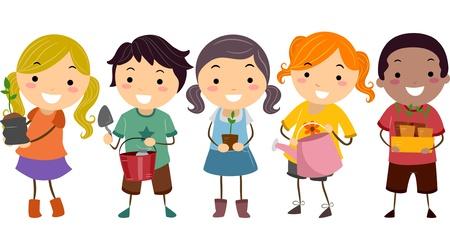 Illustratie van Stickman Kinderen met planten en tuingereedschap
