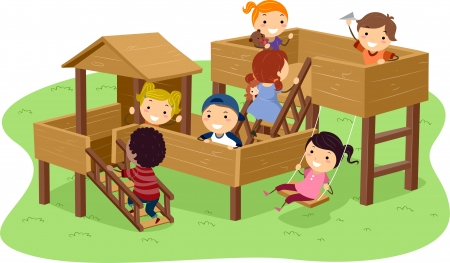 playmates: Illustration of Stickman Kids Playing in the Park Stock Photo