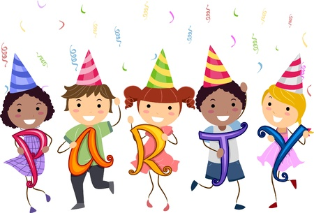 merrymaking: Illustration of Stickman Kids having a School Party Stock Photo