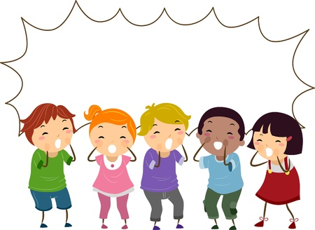 Illustration de crier Stickman enfants avec bulle vide Banque d'images - 20780119