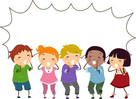 clipart: Ilustración de Gritar Stickman niños con forma de burbuja en blanco