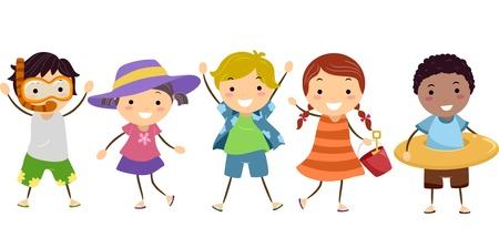 bonhomme allumette: Illustration de Stickman enfants en tenue d'�t� avec Gears d'�t�