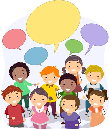 Illustration of Stickman Kids with Blank Speech Bubbles illustration