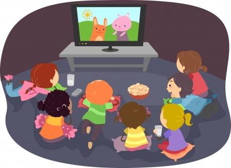 playmates: Ilustraci�n de Stickman ni�os viendo dibujos animados Foto de archivo
