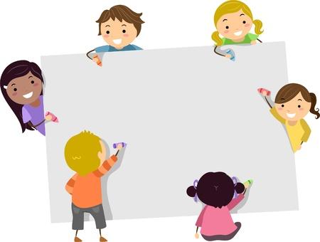 clipart: Ilustración de Stickman Kids escribir con lápices de colores sobre un tablero en blanco Foto de archivo