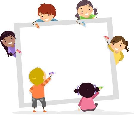 clipart: Ilustración de Stickman Kids escribir con lápices de colores sobre un tablero cuadrado en blanco Foto de archivo