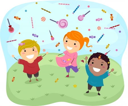 sweettooth: Illustration of Stickman Kids Catching Sweet Candies and Lollipops