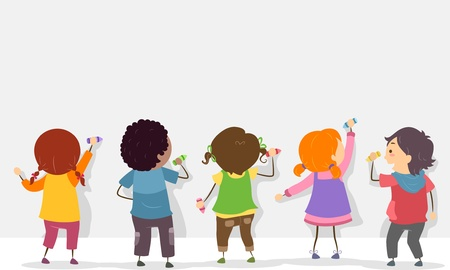 strichm�nnchen: R�ckansicht Illustration von Kids Stickman Schreiben auf einem Blank Board mit Buntstiften Lizenzfreie Bilder