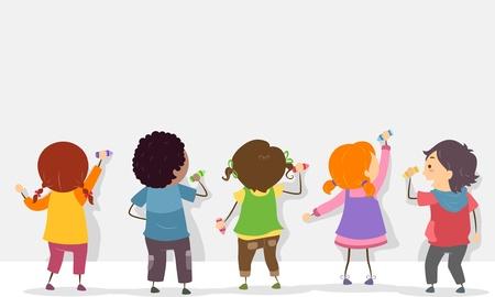 niños escribiendo: Vista trasera Ilustración de Stickman niños escriben en una tarjeta en blanco con los creyones Foto de archivo