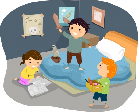 Illustration of Stickman Kids Playing Pirates in Bedroom illustration