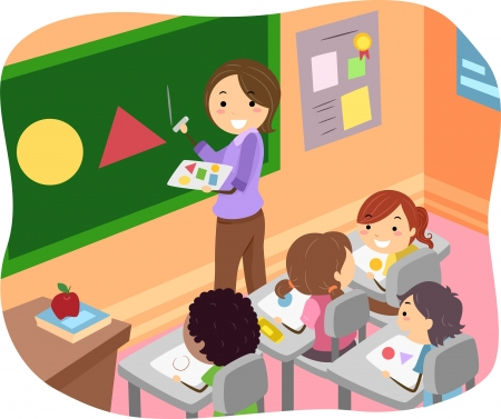 教師: 插圖火柴人孩子學習形狀的課堂 版權商用圖片