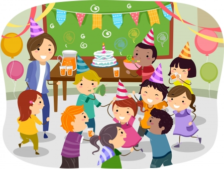 Illustratie van Stickman Kids Met een Birthday Party op School Stockfoto