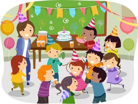 Illustration von Stickman Kids mit einer Geburtstagsparty in der Schule Standard-Bild - 20780077