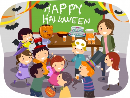 Illustration of Stickman Kids having Halloween Party at School illustration