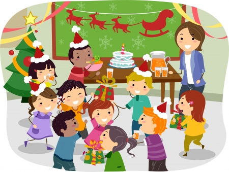 Illustratie van Stickman Kids Met een Christmas Party op School Stockfoto