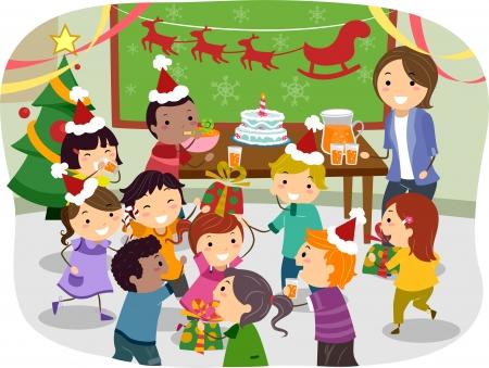 stickman: Illustration of Stickman Kids Having a Christmas Party at School