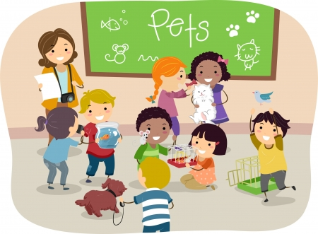 Illustration of Stickman Kids with their Pets in Classroom illustration