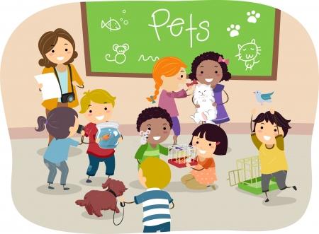 aves caricatura: Ilustraci�n de Stickman ni�os con sus mascotas en el aula