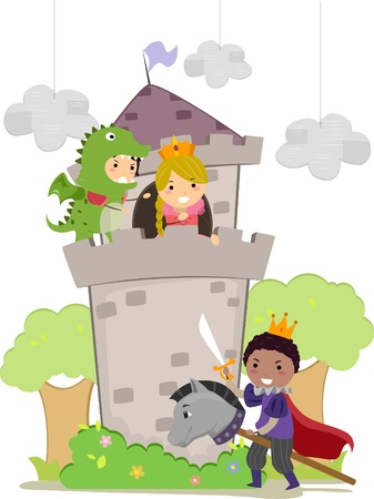 Illustration of Stickman Kids plays Dragon, Prince, and Princess in School Play  illustration