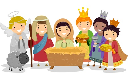Illustration of Stickman Kids Playing Nativity Scene in School Play Stock Photo