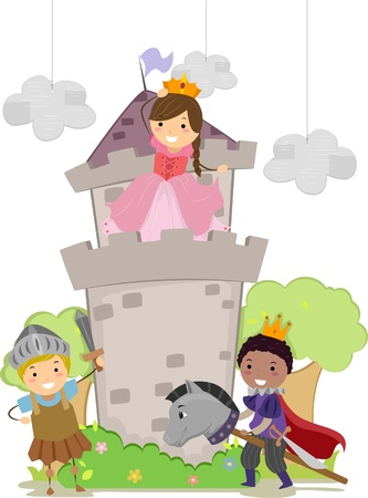 Illustration of Stickman Kids Playing Prince, Princess and Kight in School Play illustration