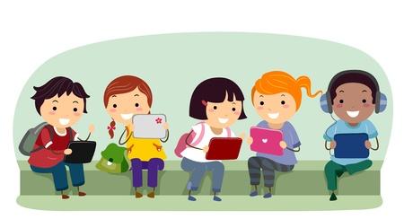 bonhomme allumette: Illustration de Stickman enfants avec la tablette ordinateurs � l'�cole