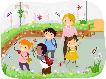 Illustrazione di Stickman bambini in gita scolastica a Giardino delle farfalle