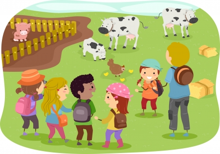 Illustration of Stickman Kids in a School Trip to a Farm Фото со стока