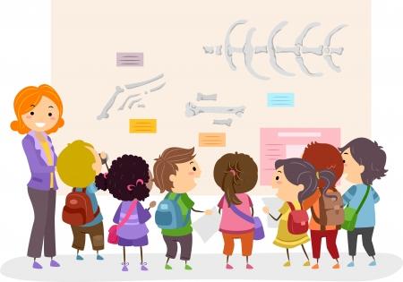 博物館で棒人間の子供の学校旅行のイラスト