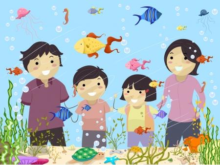 Illustration of Stickman Family Looking at an Aquarium in Oceanarium
