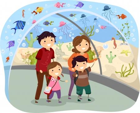 oceanarium: Illustration of Stickman Family Visiting an Oceanarium