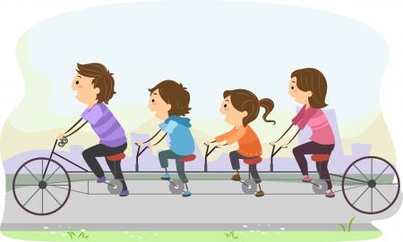 bonhomme allumette: Illustration de Stickman Famille montant une bicyclette tandem