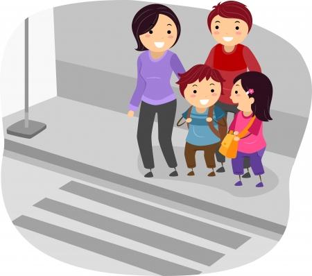 bonhomme allumette: Illustration de Stickman famille de traverser une rue