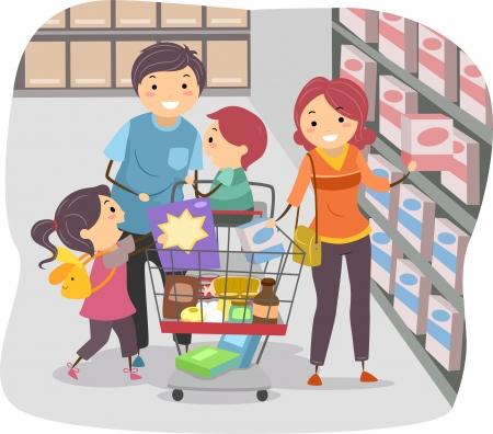 Illustratie van Stickman Familie Winkelen in een supermarkt Stockfoto