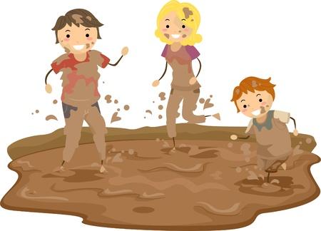 bonhomme allumette: Illustration de Stickman Famille jouant dans la boue