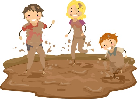 kid  playing: Illustration of Stickman Family Playing in the Mud Stock Photo