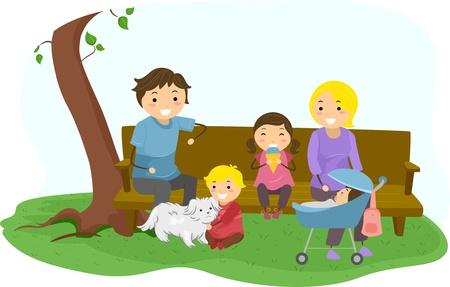 perro familia: Ilustración de Stickman Bonding Familia en el Parque