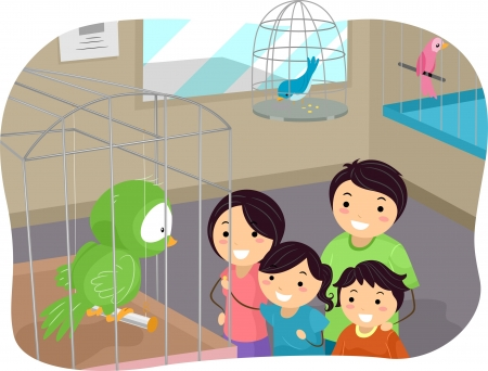 Illustration of Stickman Family Buying a Bird From a Pet Store illustration