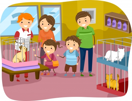 Illustration of Stickman Family Buying a Cat From a Pet Store illustration