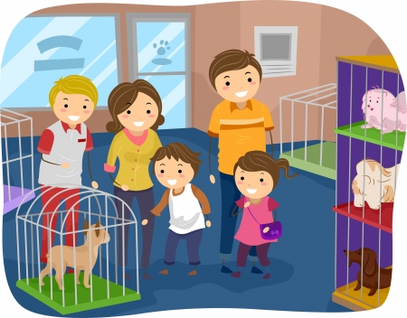 Illustration of Stickman Family Buying a Dog From a Pet Store illustration