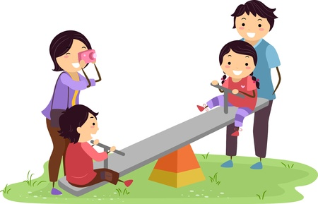 Illustration of Stickman Family Having Fun in the Playground illustration