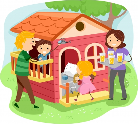 playhouse: Illustration of Stickman Family Having a Pastime in a Playhouse Stock Photo