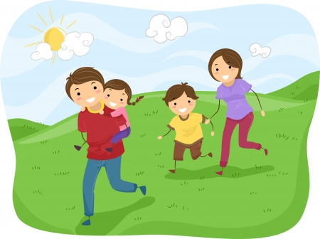 Illustration of Stickman Family Running on the Hills illustration