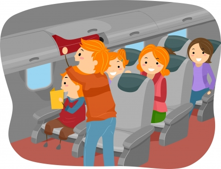 stickman: Illustration of Stickman Family Inside an Airplane
