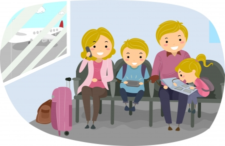 Illustration of Stickman Family in an Airport illustration