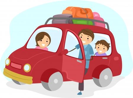 bonhomme allumette: Illustration de Stickman famille voyageant dans une voiture Banque d'images