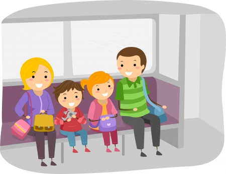 Illustration of Stickman Family Travelling by Train illustration