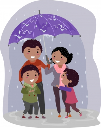 sheltering: Illustration of Stickman Family Under an Umbrella Sheltering From the Rain Stock Photo