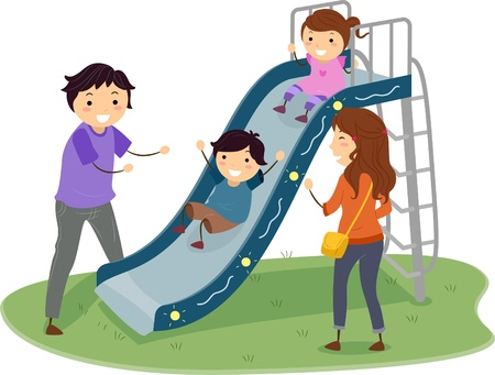 family playing: Illustration of Stickman Family in a Playground with Kids Playing in Slide