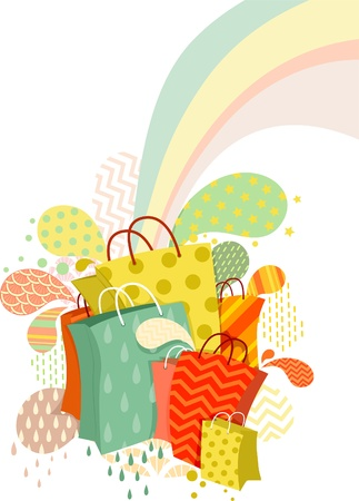 Illustration of Colorful Abstract Shopping Bags Design